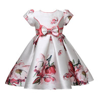 Kid's Designer Floral Dress with Bow Waistband