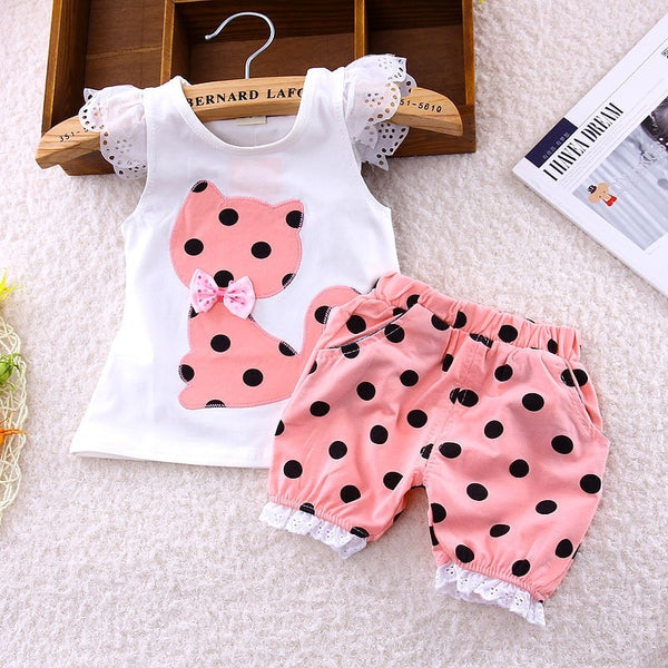 Korean Summer Baby Girls Clothing Set