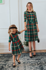 Winter Mommy and Daughter Doll Neck Plaid Outfits