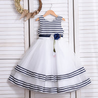 Girl's Communion Stripe Designer Dress - Blue