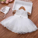 Newborn's White Embroidery Dress with Matching Headwear