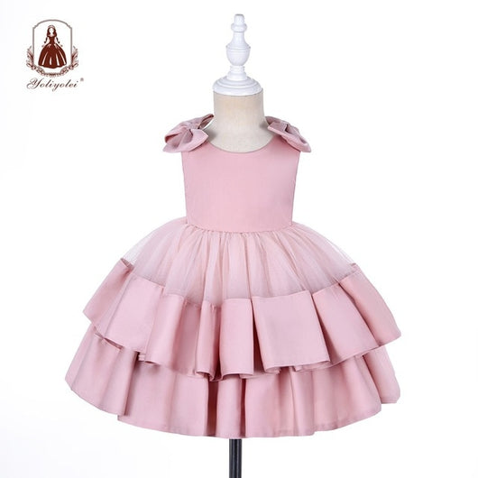 Baby Girl's Casual Party Dress with Headwear