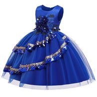 Girl's Embroidered Sequin Dress - Blue