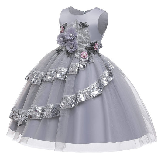 Girl's Embroidered Sequin Dress - Gray