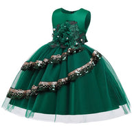 Girl's Embroidered Sequin Dress - Green