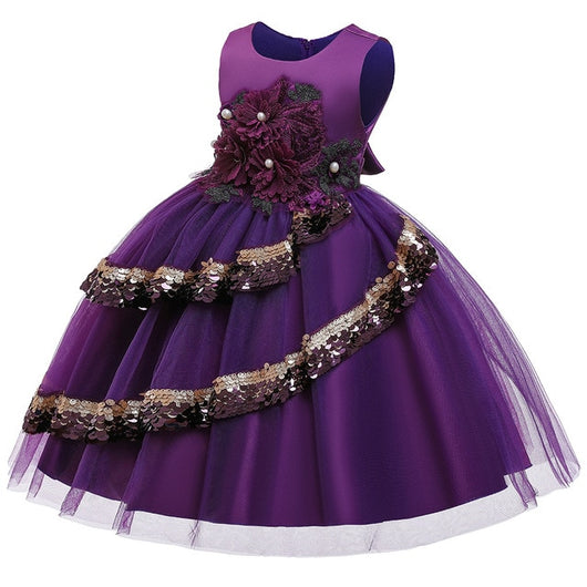 Girl's Embroidered Sequin Dress - Purple