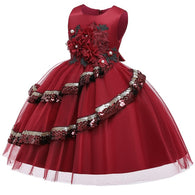 Girl's Embroidered Sequin Dress - Red