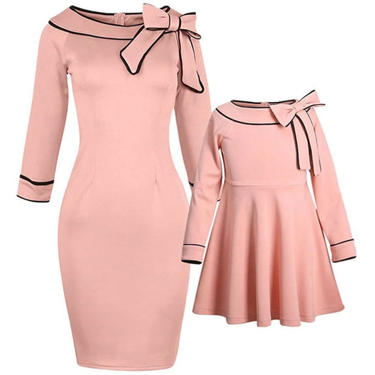 Mother And Daughter Bow Pink Dress