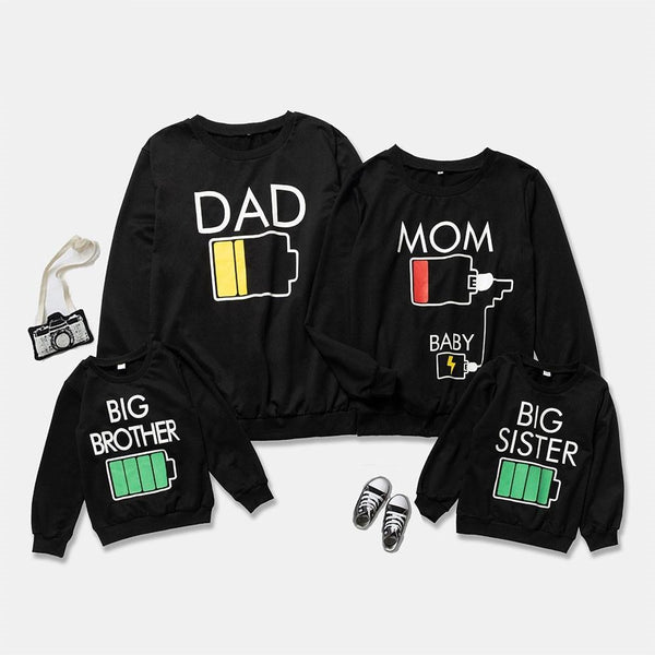 Battery Printed Family Matching Sweatshirts For Winter