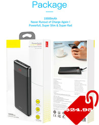 Power Bank 10000 mAh Dual USB LCD Slim Portable External Battery Pack Charger - seasonBlack
