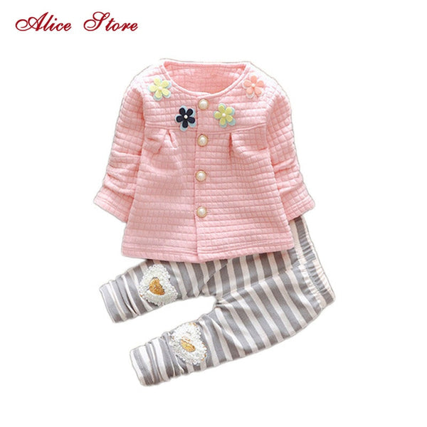 New Baby Girls Flower Suit Cardigan