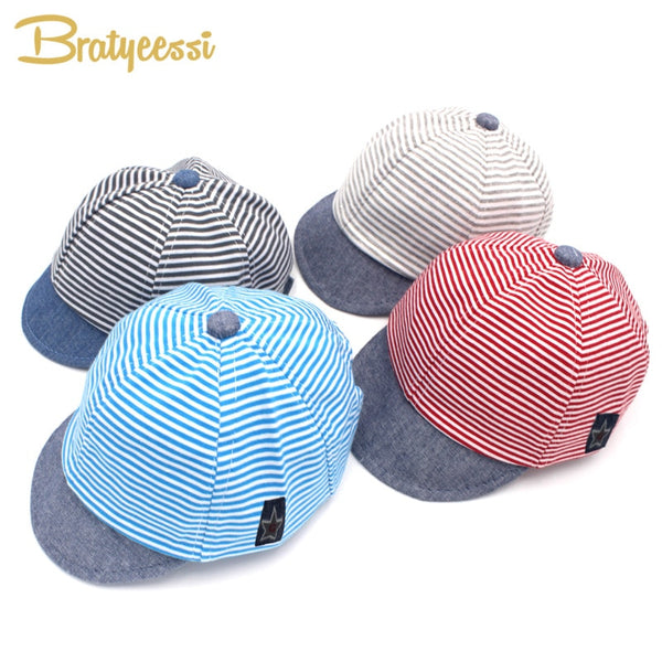 Fashion Striped Baby Cap - Cotton & Adjustable - seasonBlack