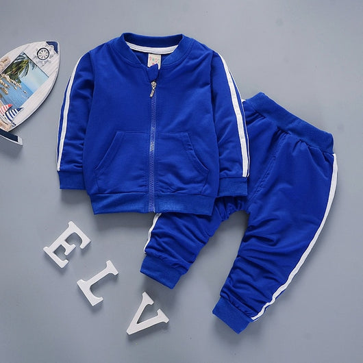 Zipper Leisure Sports Suit Jacket + Pants
