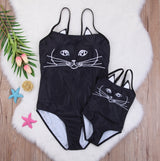 Matching Mother-Daughter Swimwear - 3D Black Cat Design - seasonBlack