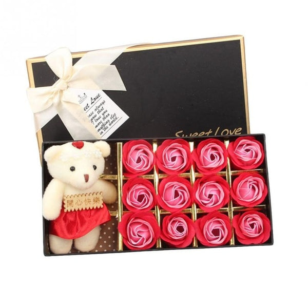 Valentines GIFT for Her - Romantic Scented Bath Rose Petals with Little Bear - seasonBlack