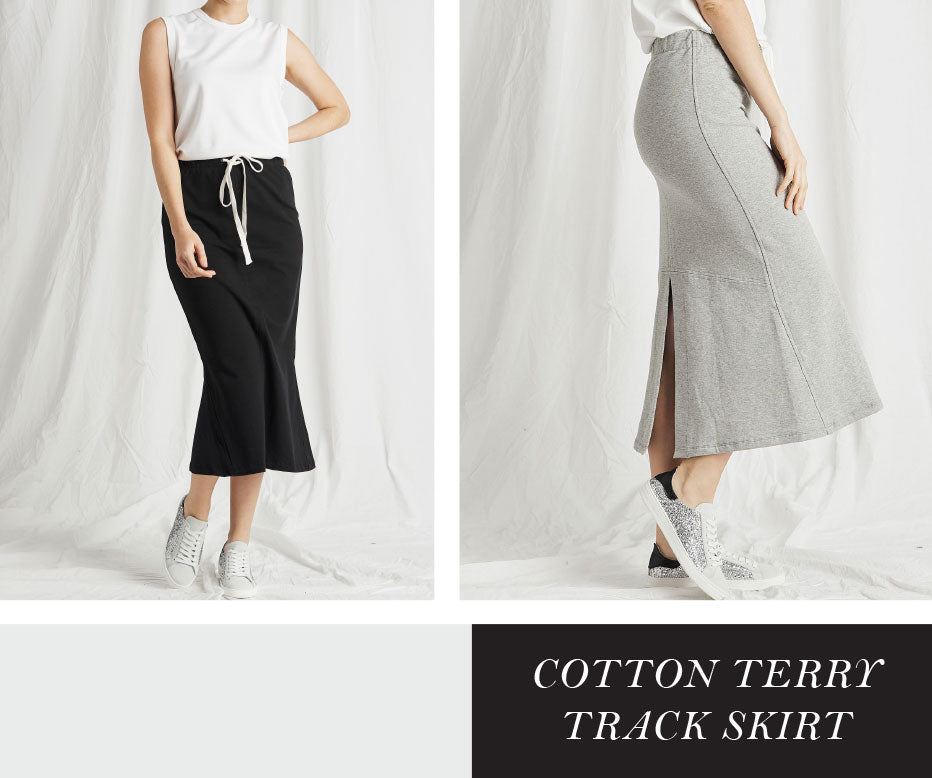 COTTON TERRY TRACK SKIRT