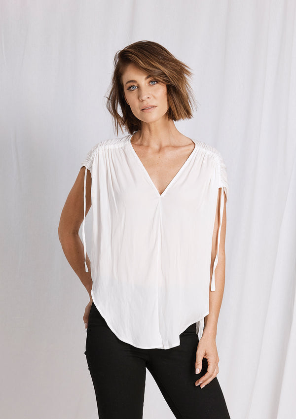 Luxe Deluxe Look Twice Gathered Sleeve Top