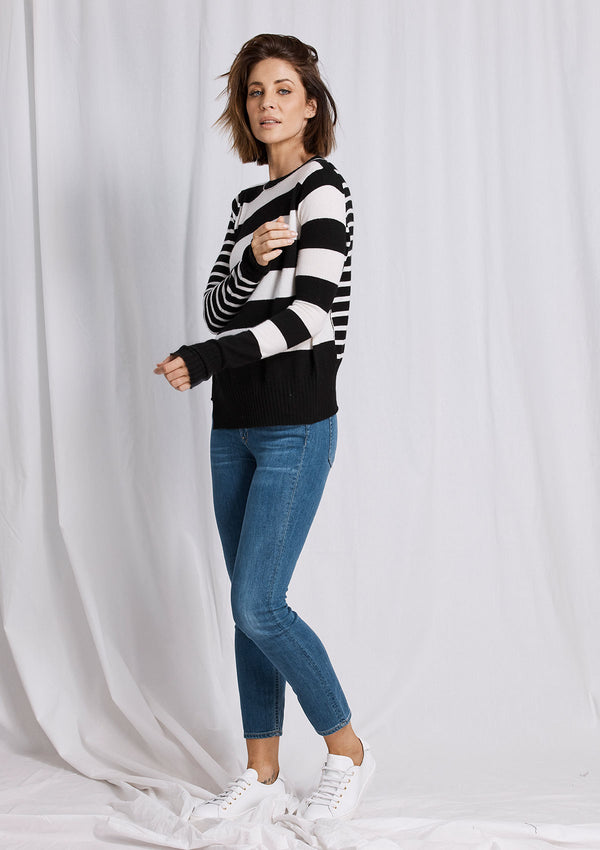 Khlassik Stripe Crew Neck Cashmere Sweater