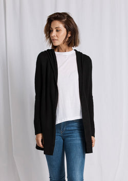 Khlassik Black Essential Hooded Cardigan