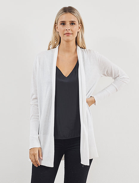 White & Warren Cotton High Rib Cardigan