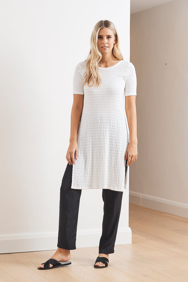 Mela Purdie Shirred Mesh Knit Cafe Tabbard