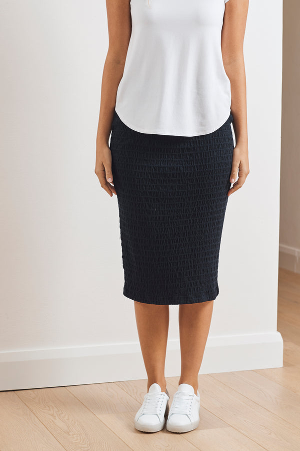 Mela Purdie Shirred Mesh Knit Pencil Skirt