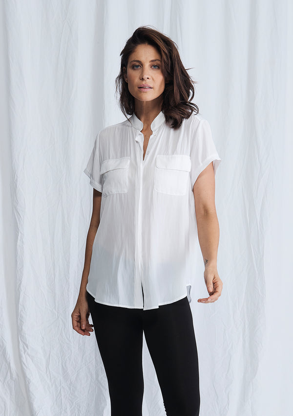 Mela Purdie Macro-Mousseline Stand Collar Blouse