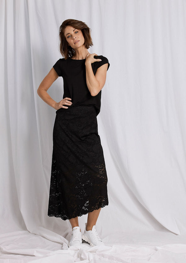 Mela Purdie Flannel Lace Oblique Skirt