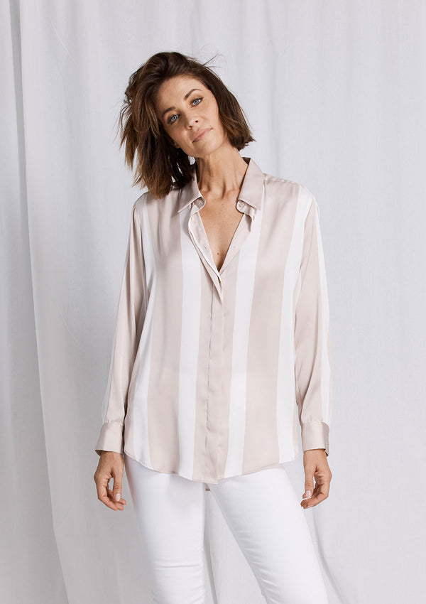 Mela Purdie Domino Stripe Satin Soft Shirt
