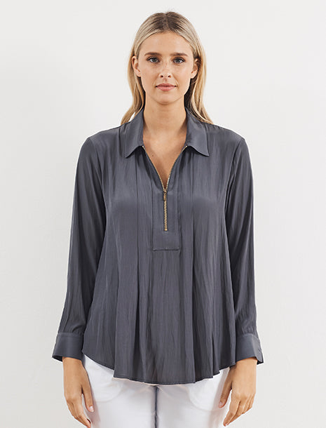 Mela Purdie Macro-Mousseline Zip Pleat Shirt