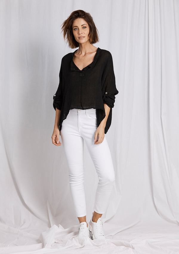 Khlassik Autumn Linen Tab Sleeve Top