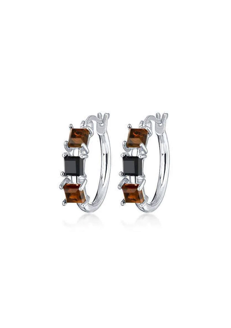 F+H Crüe Hoop Earrings: Smokey Quartz + Black Onyx