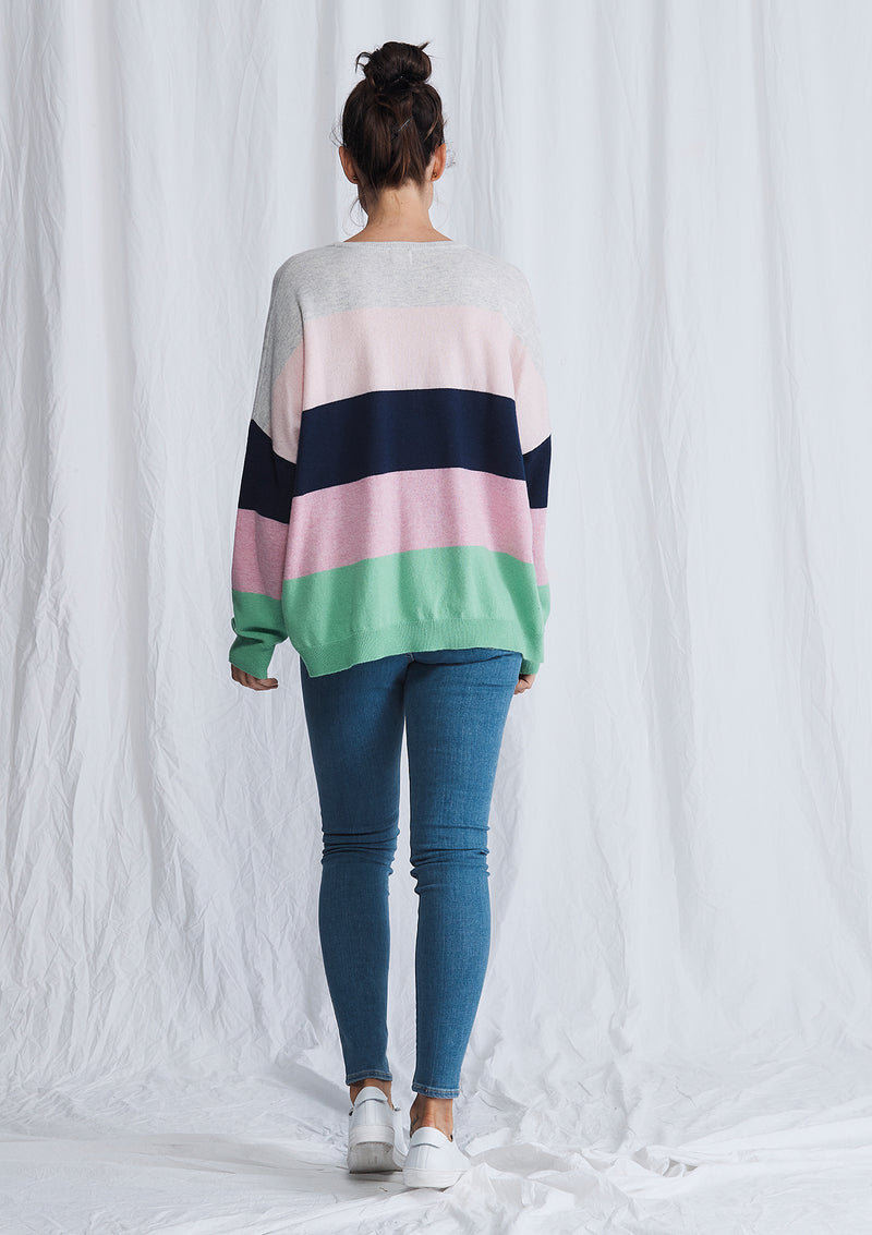 Ali Crystal Stripe Crew Sweater