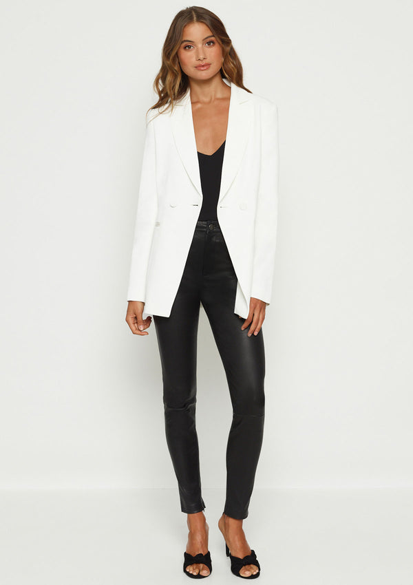 Luxe Deluxe Day to Night Longline Jacket w Self Covered Buttons