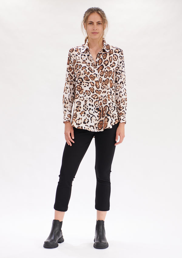 Mela Purdie Cognac Animal Print Soft Shirt