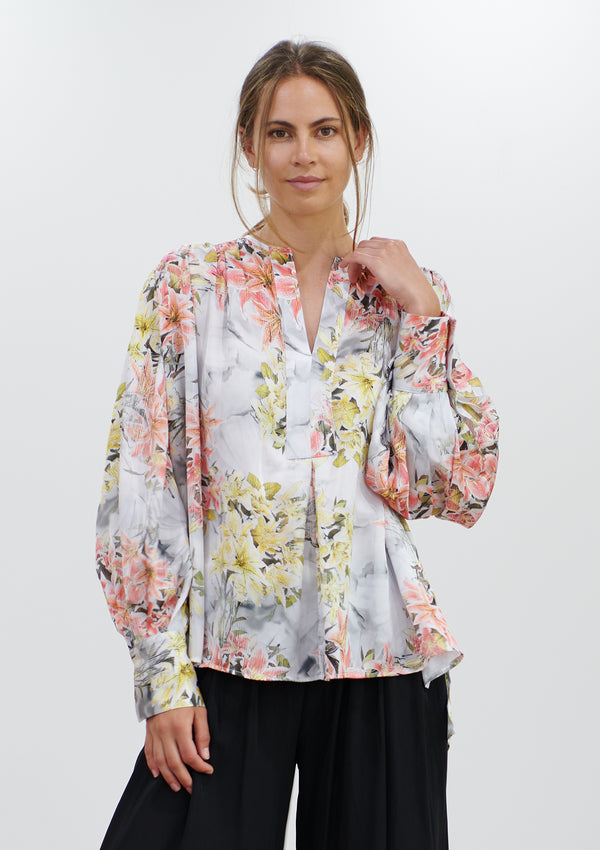 Mela Purdie Shadow Lilly Print Saddle Blouse