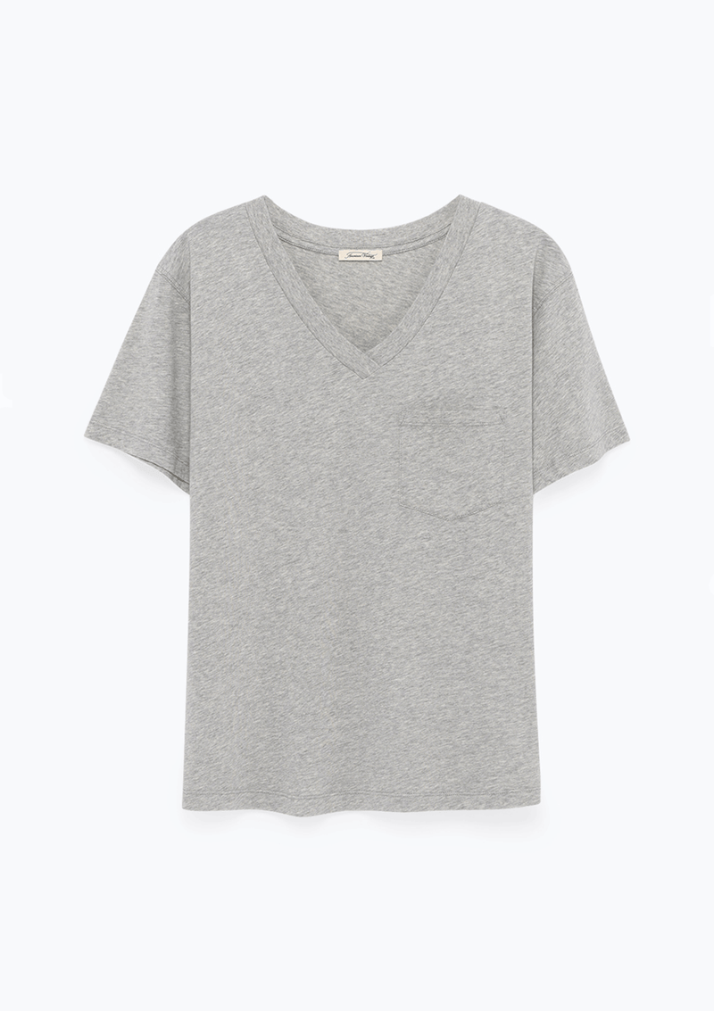 American Vintage V Collar SS Tee-Shirt Heather Grey