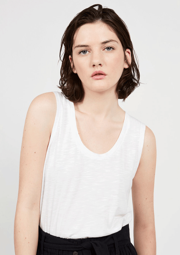 American Vintage U Collar Tank Top White