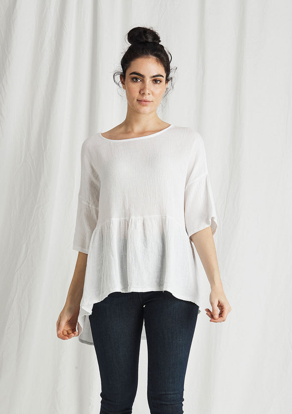 Khlassik Linen Balmy Frill Front Top