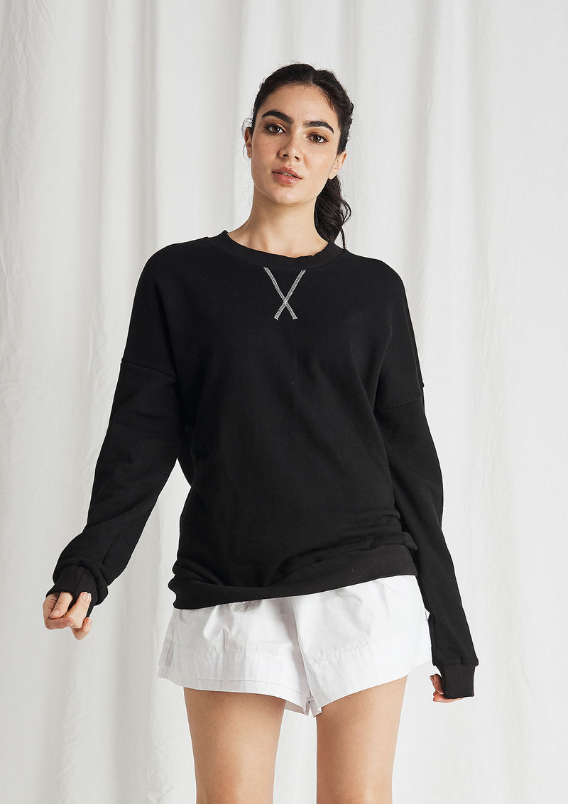 Khlassik Cross Stitched Crew Neck Sweater