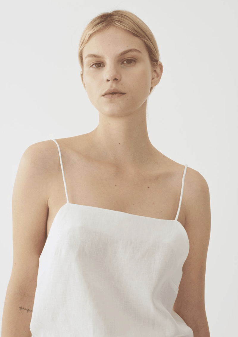 Matin Studio Square Neck Top White