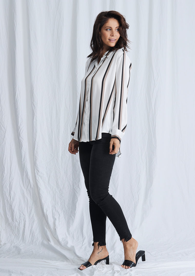 Mela Purdie Moulin Stripe Satin Soft Shirt