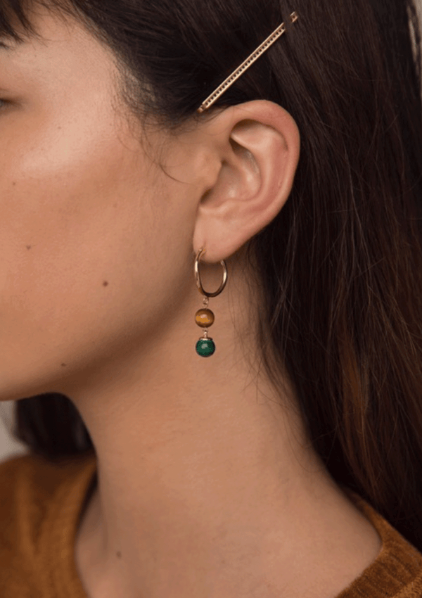 F+H Petty Gemstone Ball Earrings