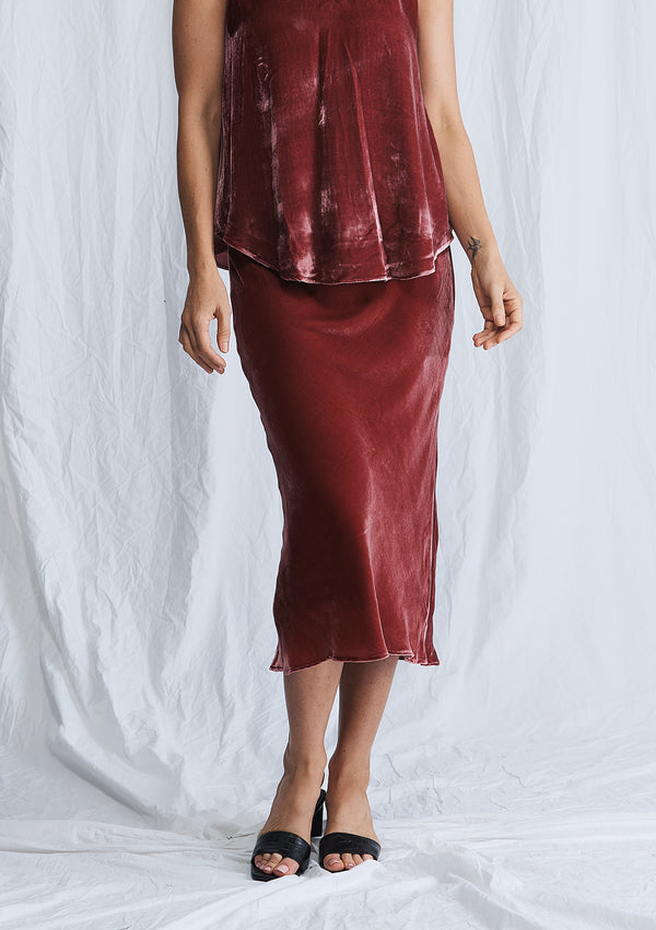 Luxe Deluxe First Love Velvet Bias Cut Midi Skirt