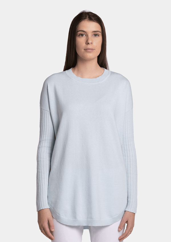 Birdie Sophia Cotton Cashmere Scoop Hem Knit