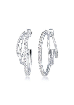 F+H Silver Triple Max Gemstone Hoops