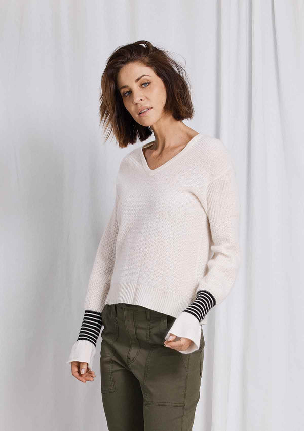 W&W Cinched Cuff V Neck Sweater