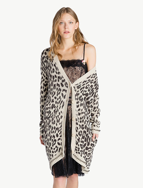 Twinset Long Animal Print Cardigan