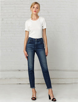 3 X 1 Denim Straight Cropped Jean