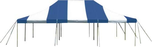 20-Foot by 30-Foot Blue and White Pole Tent, Commercial Canopy Heavy Duty 16-Ounce Vinyl for Parties, Weddings, and Events